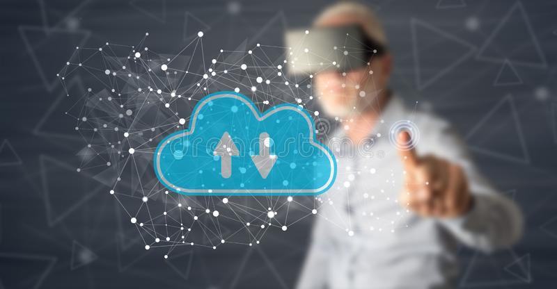 Man touching a cloud storage concept royalty free stock images