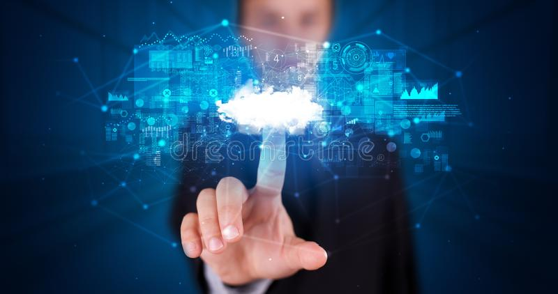 Man touching cloud system hologram stock photography