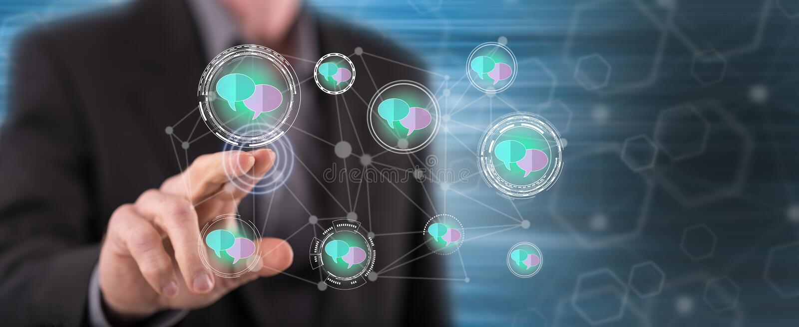 Man touching a communication network concept stock image