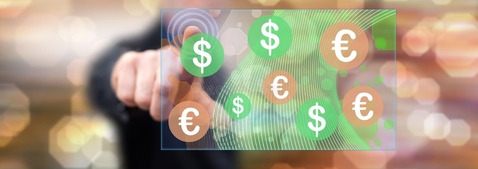 Man touching a currency exchange concept. On a touch screen with his finger stock photos