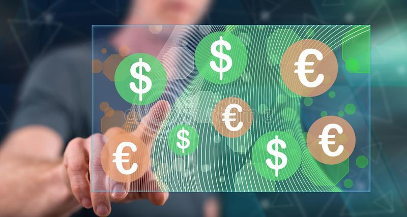 Man touching currency exchange concept. On a touch screen with his finger royalty free stock photos