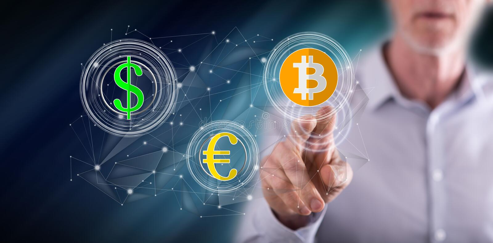 Man touching a currency exchange concept. On a touch screen with his finger stock image