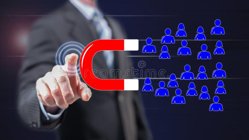 Man touching a customer attraction concept royalty free stock image