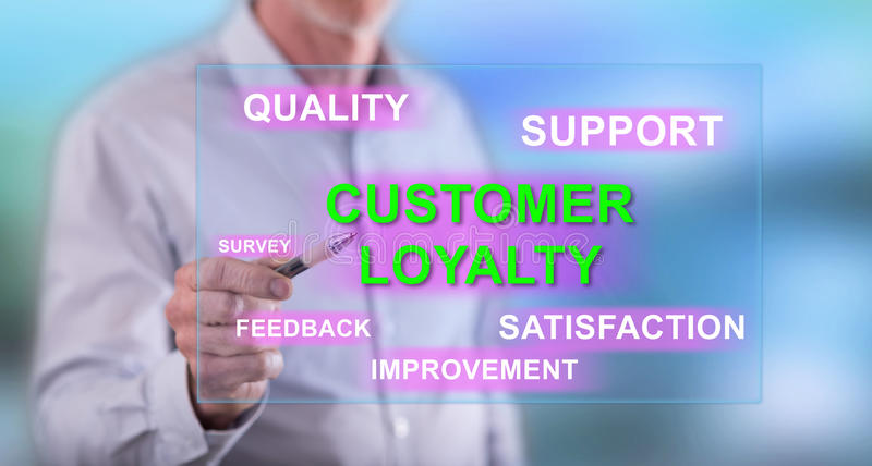 Man touching a customer loyalty concept on a touch screen stock photo