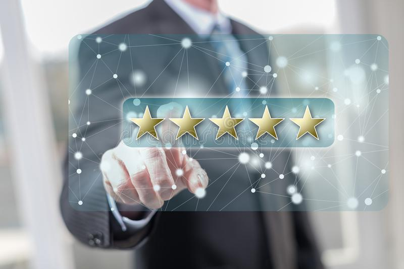 Man touching a customer review concept royalty free stock images