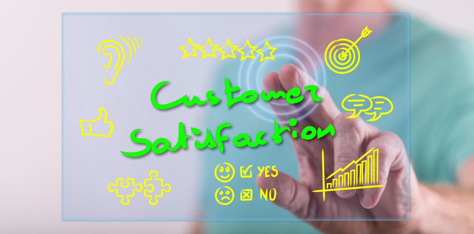 Man touching a customer satisfaction concept royalty free stock photos