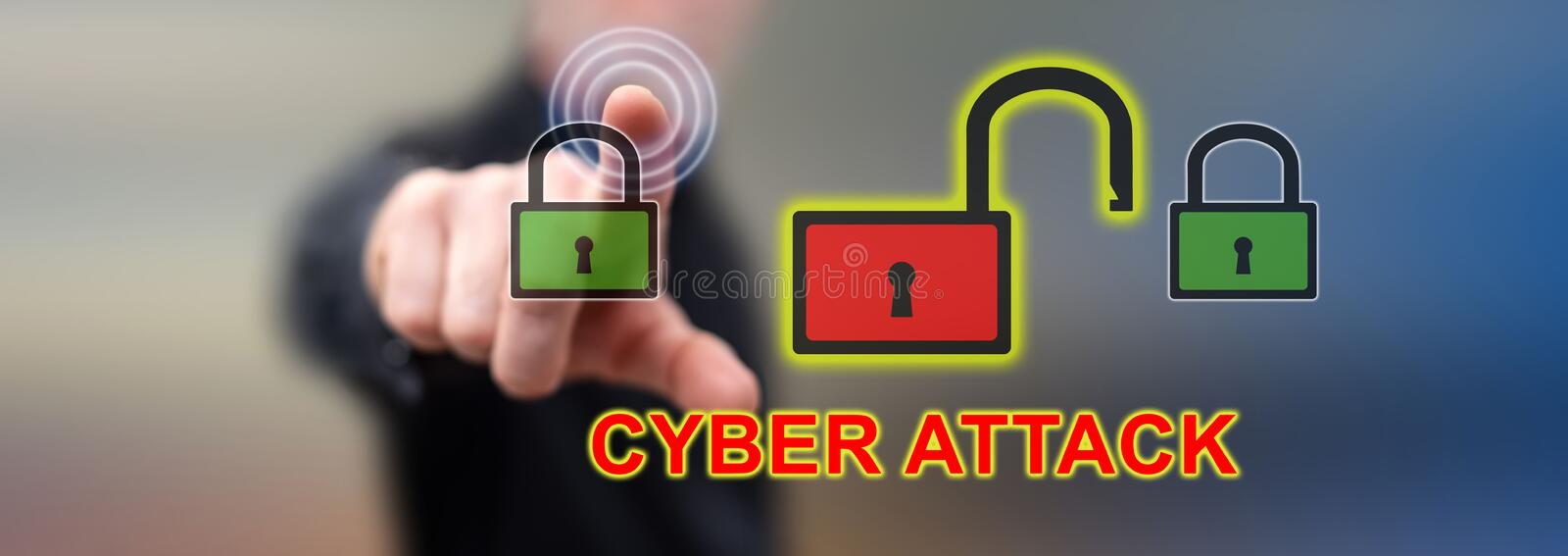 Man touching a cyber attack concept royalty free stock photo