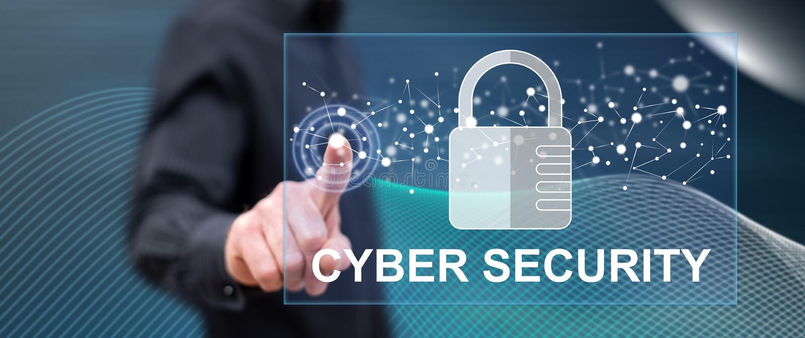 Man touching a cyber security concept. On a touch screen with his finger stock photos