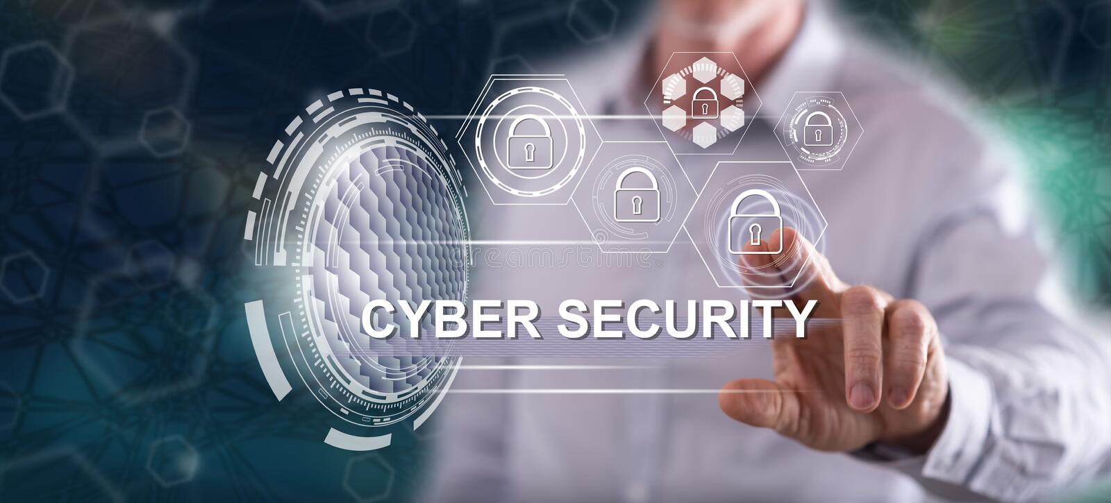 Man touching a cyber security concept. On a touch screen with his finger royalty free stock photo
