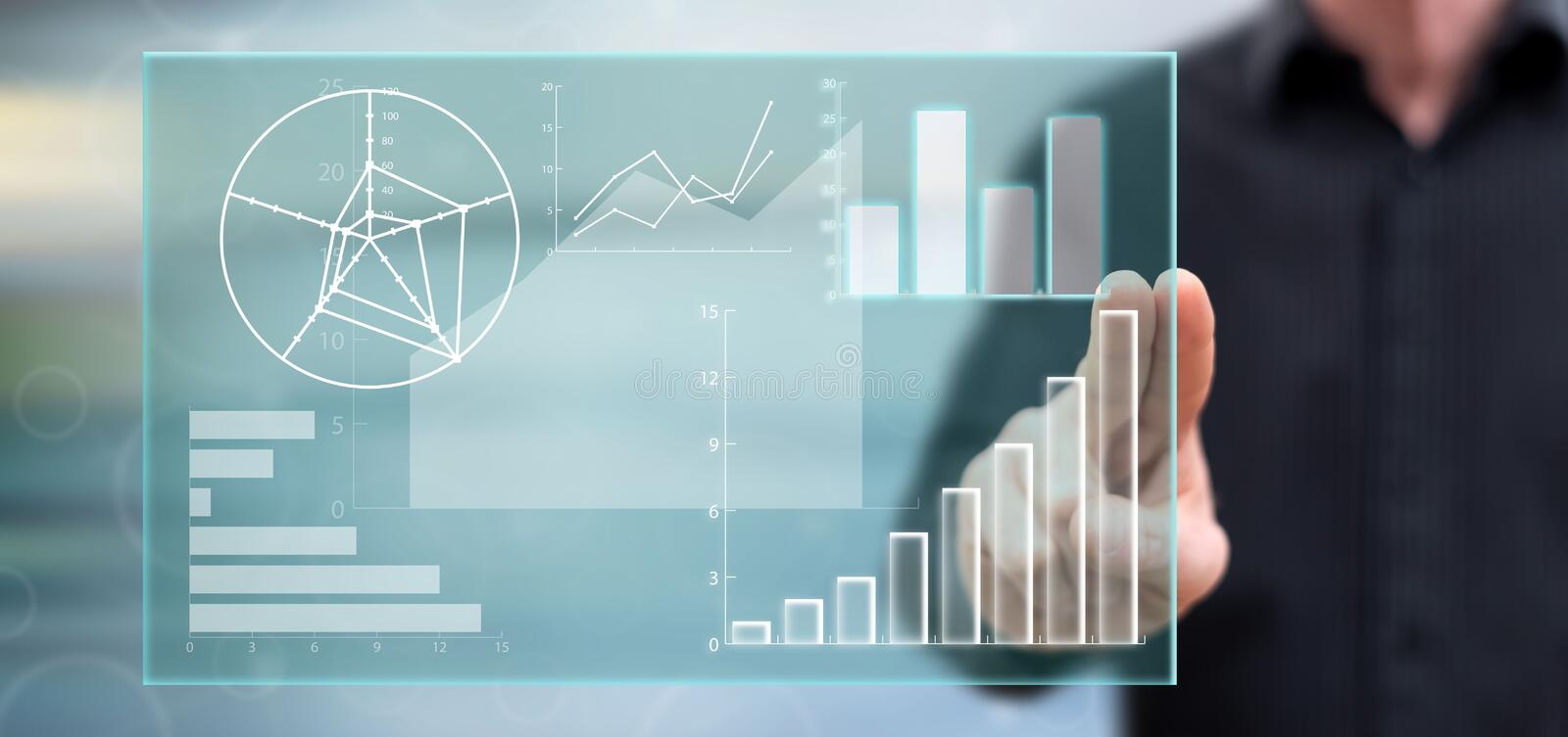 Man touching a data analysis concept vector illustration