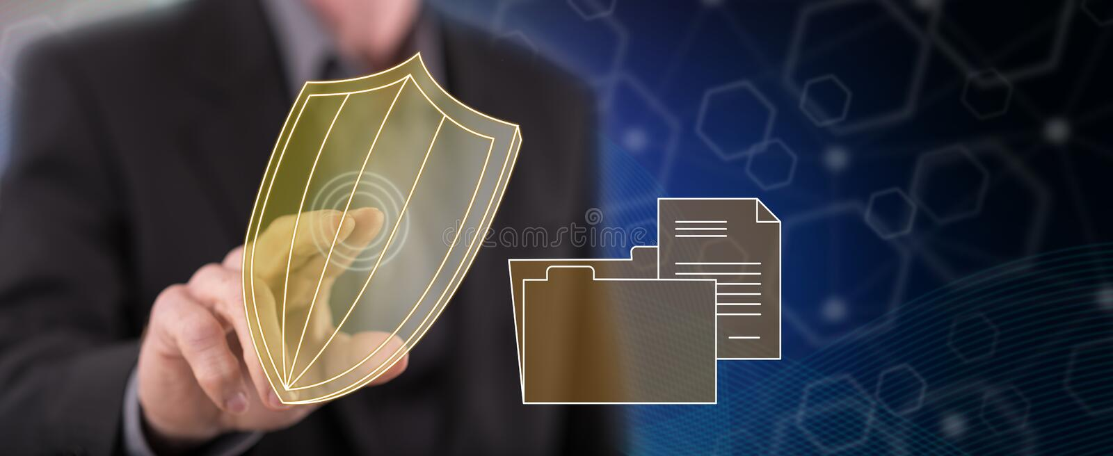 Man touching a data protection concept. On a touch screen with his finger vector illustration