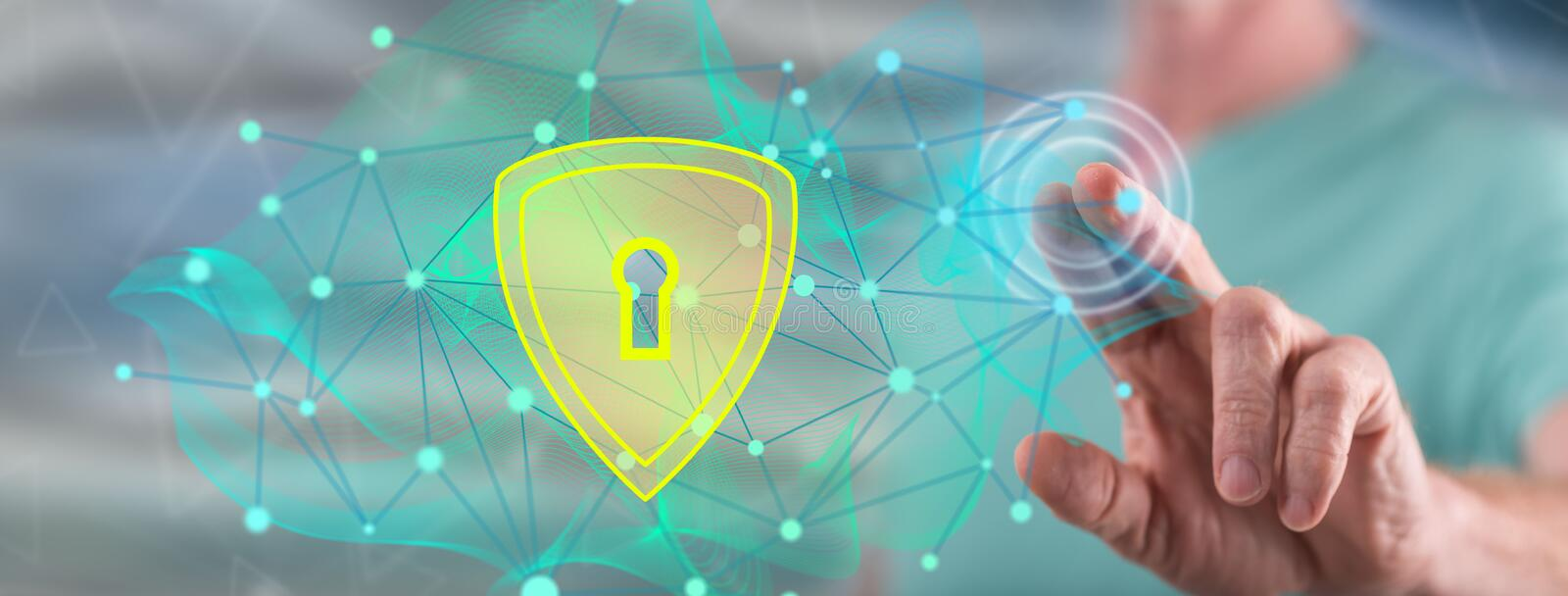 Man touching a data security concept royalty free stock photography