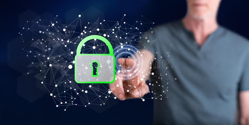 Man touching a data security concept stock images