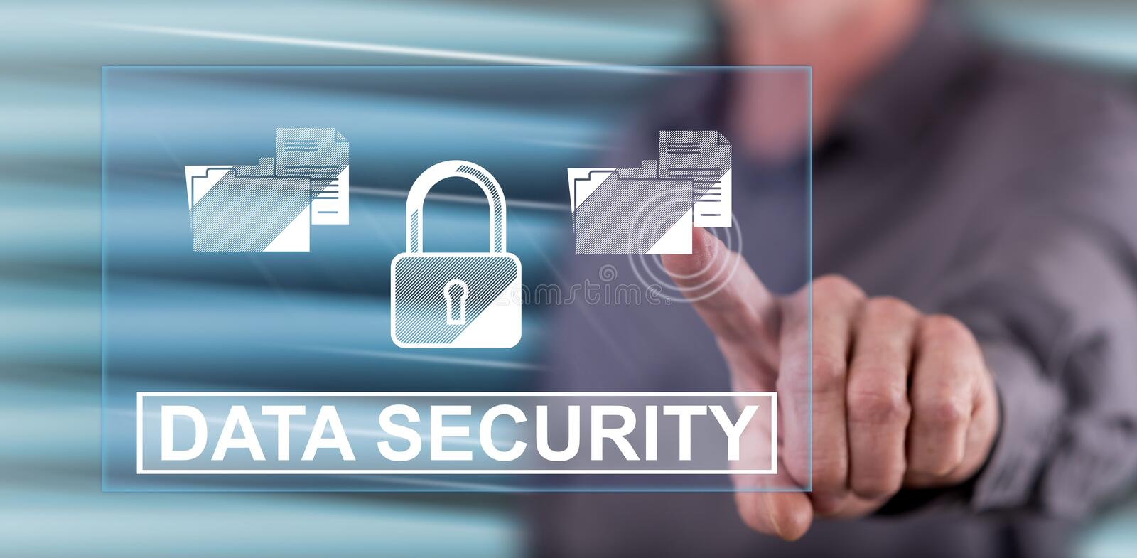 Man touching a data security concept. On a touch screen with his finger royalty free stock images