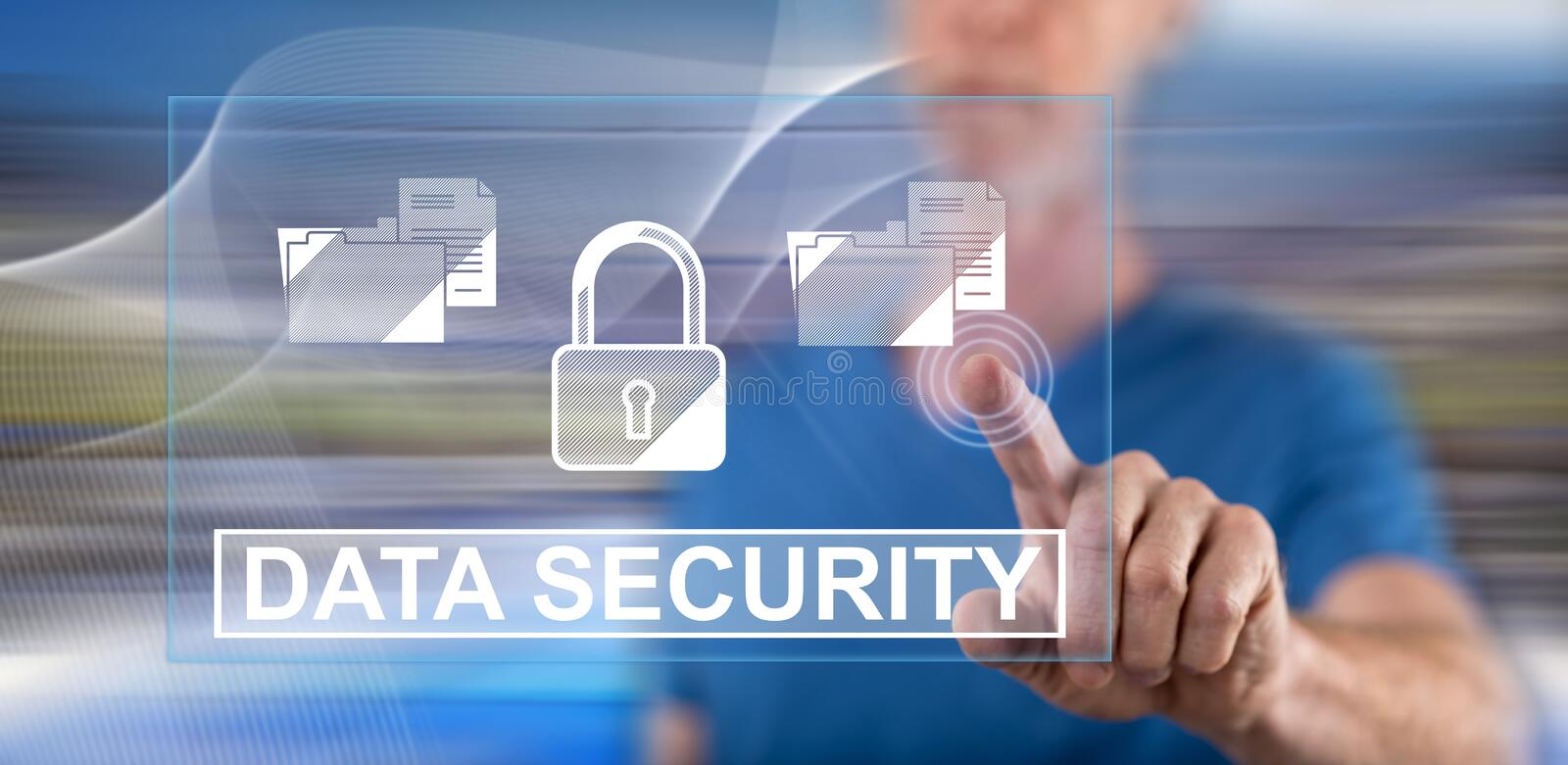 Man touching a data security concept royalty free stock photo
