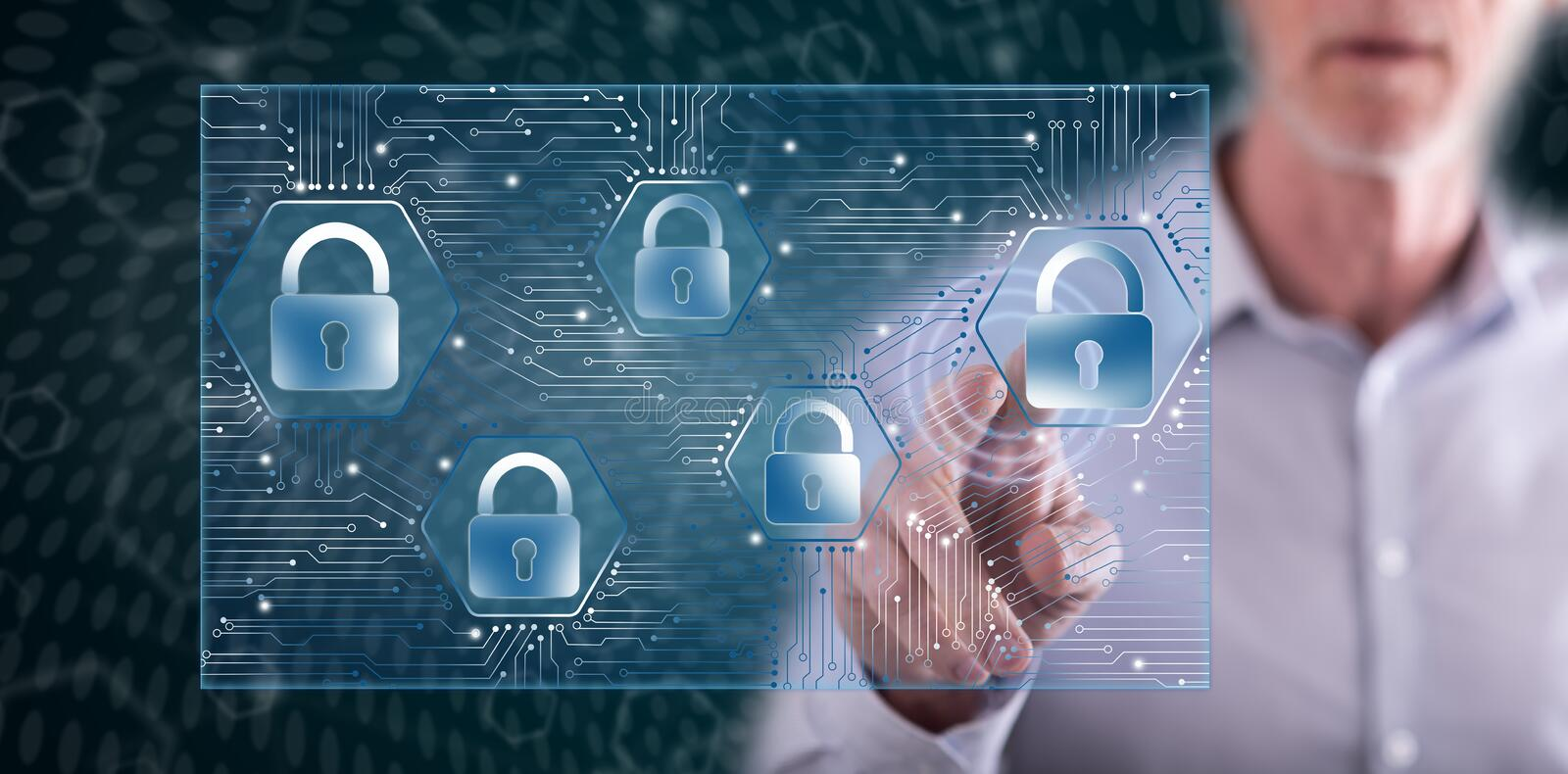 Man touching a data security concept. On a touch screen with his finger royalty free stock photography