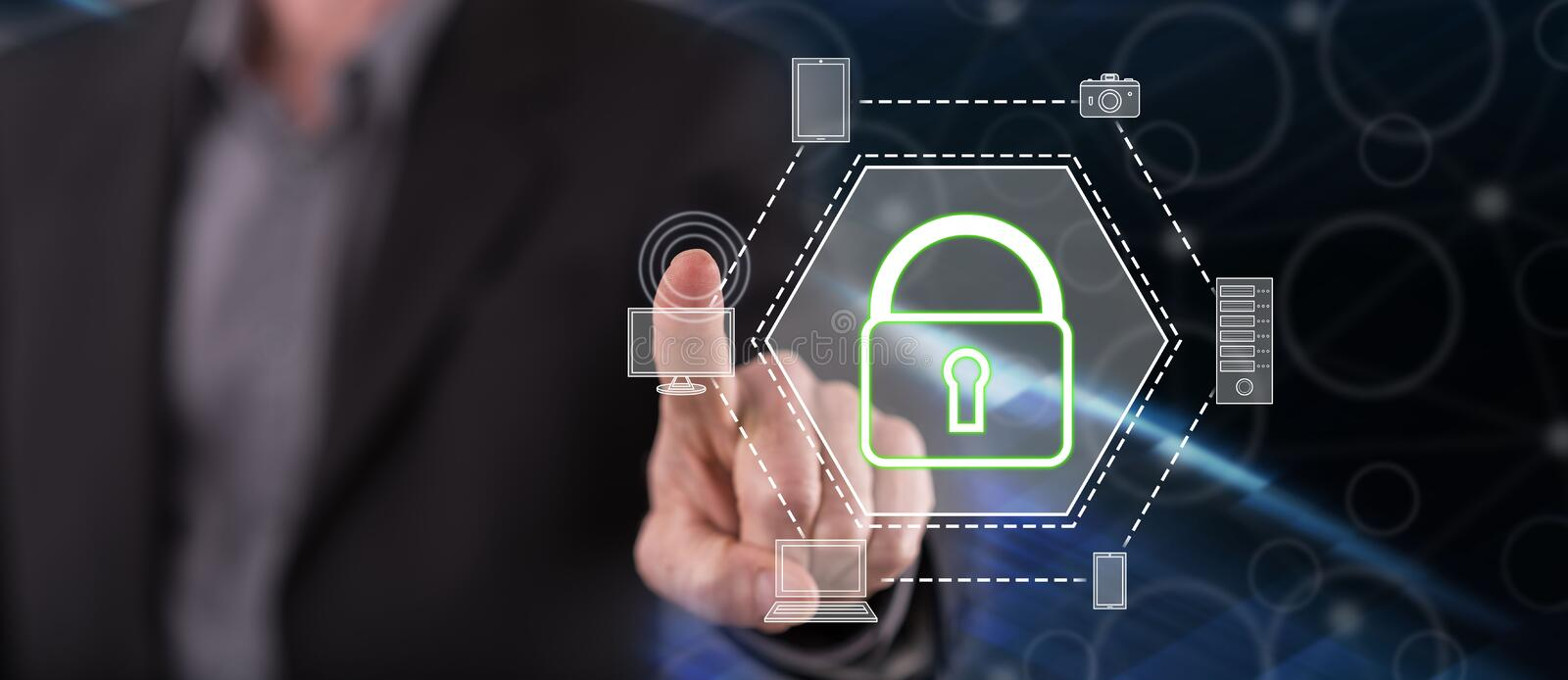 Man touching a devices security concept. On a touch screen with his finger stock images