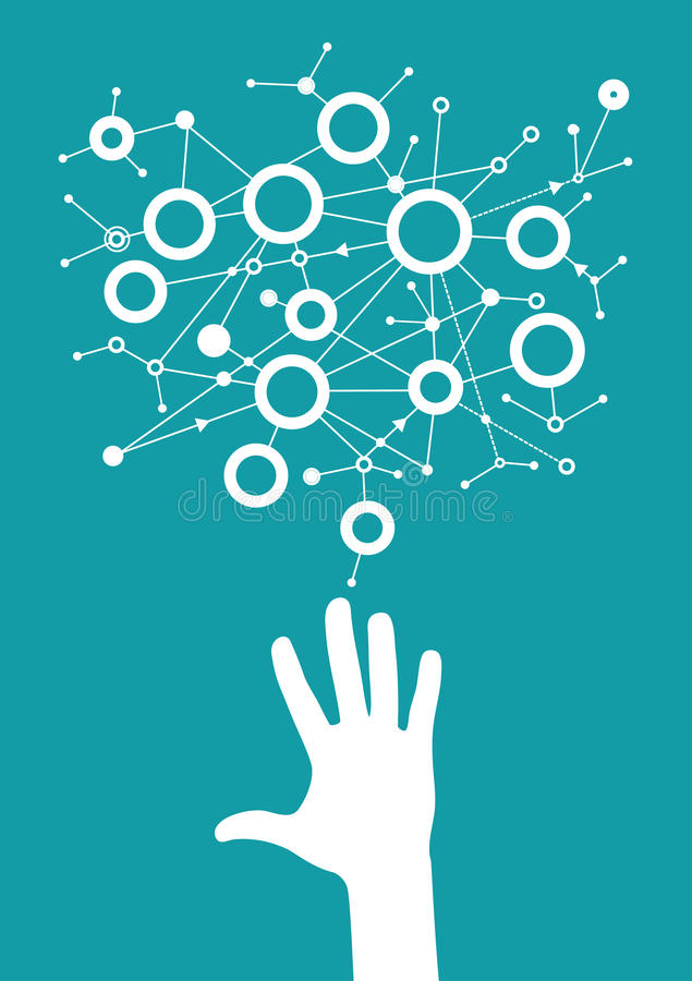 Man touching digital data network with his fingers stock illustration
