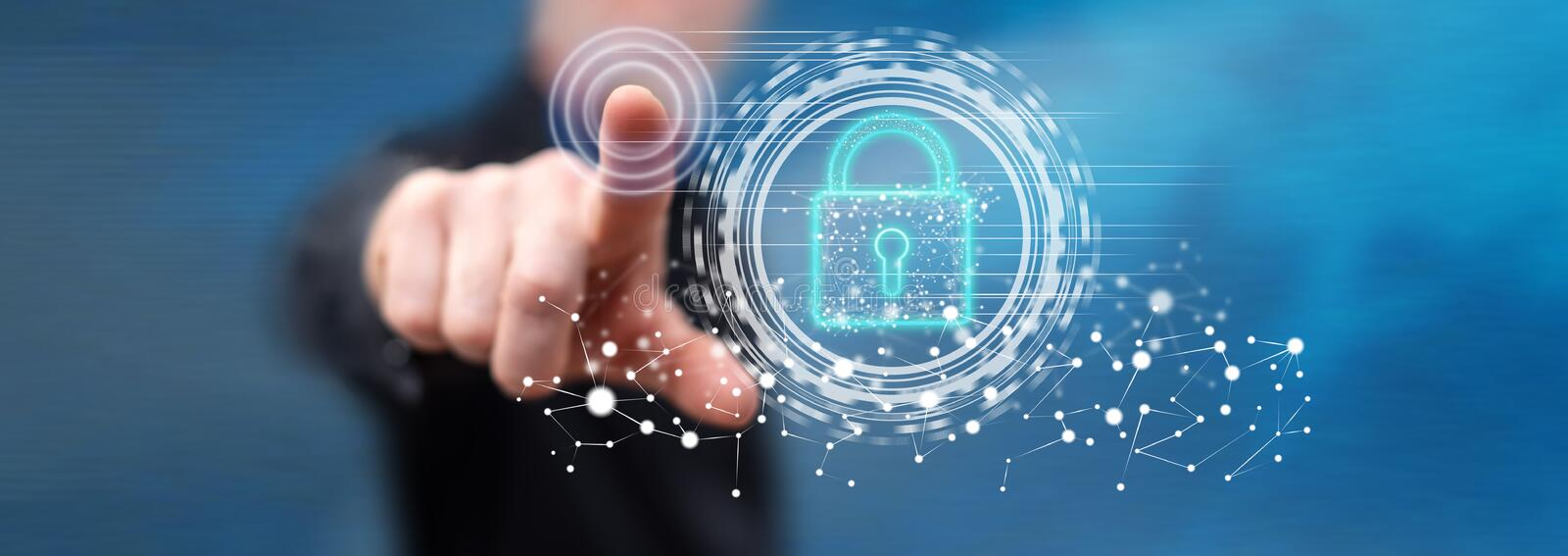 Man touching a digital security concept royalty free stock photos