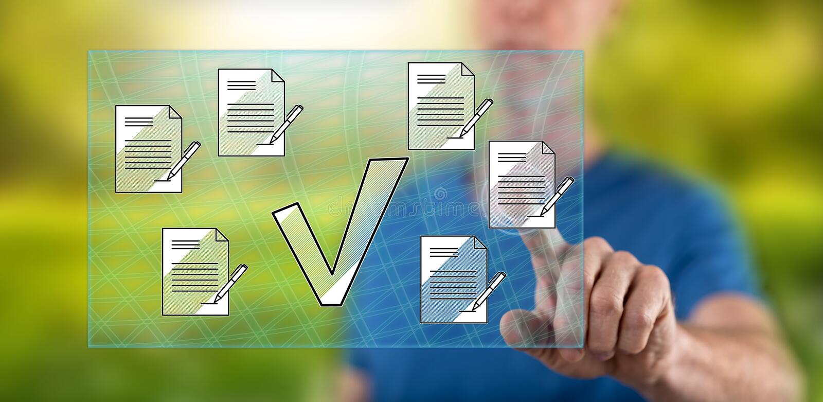 Man touching a document validation concept stock images