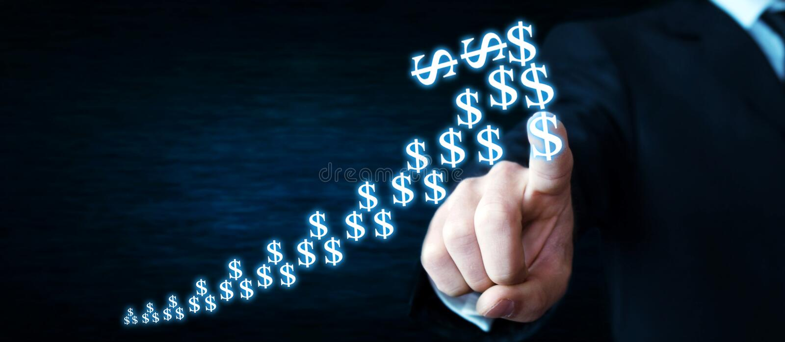 Man touching dollars arrow. Currency growth concept. stock image