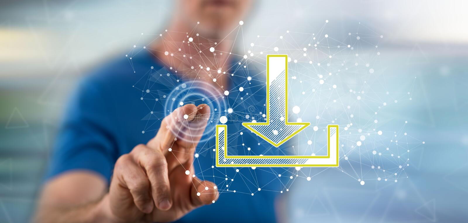 Man touching a download concept. On a touch screen with his finger royalty free stock images