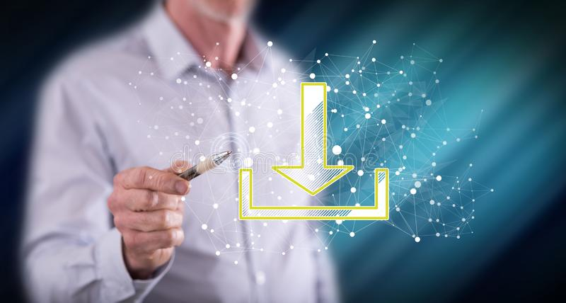 Man touching a download concept. On a touch screen with a pen royalty free stock images