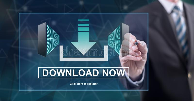 Man touching a download concept. On a touch screen with a stylus pen stock photography