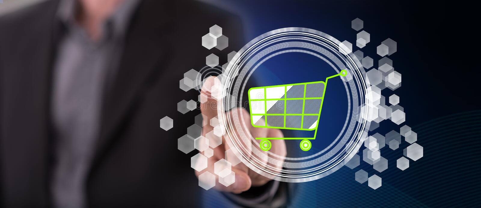 Man touching an e-commerce concept. On a touch screen with his finger royalty free stock images