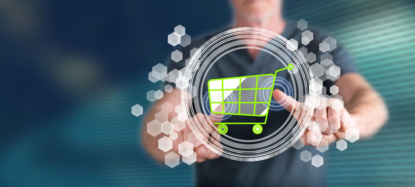 Man touching an e-commerce concept stock image