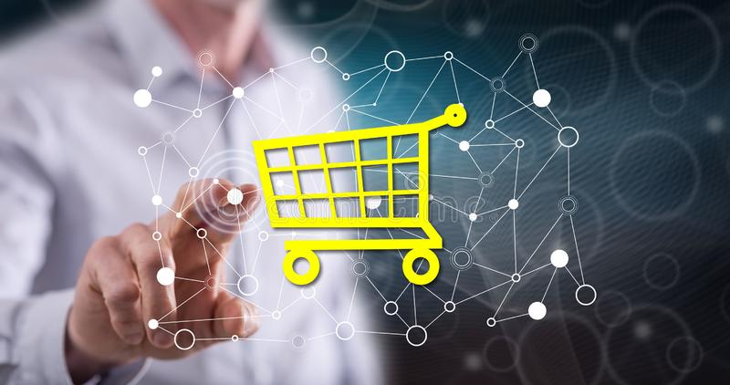 Man touching an e-commerce concept royalty free stock photography