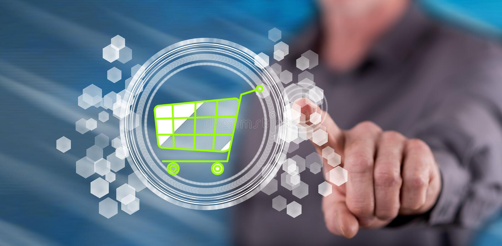 Man touching an e-commerce concept. On a touch screen with his finger royalty free stock photos