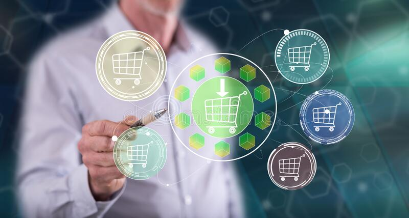Man touching an e-commerce concept. On a touch screen with a pen royalty free stock photos