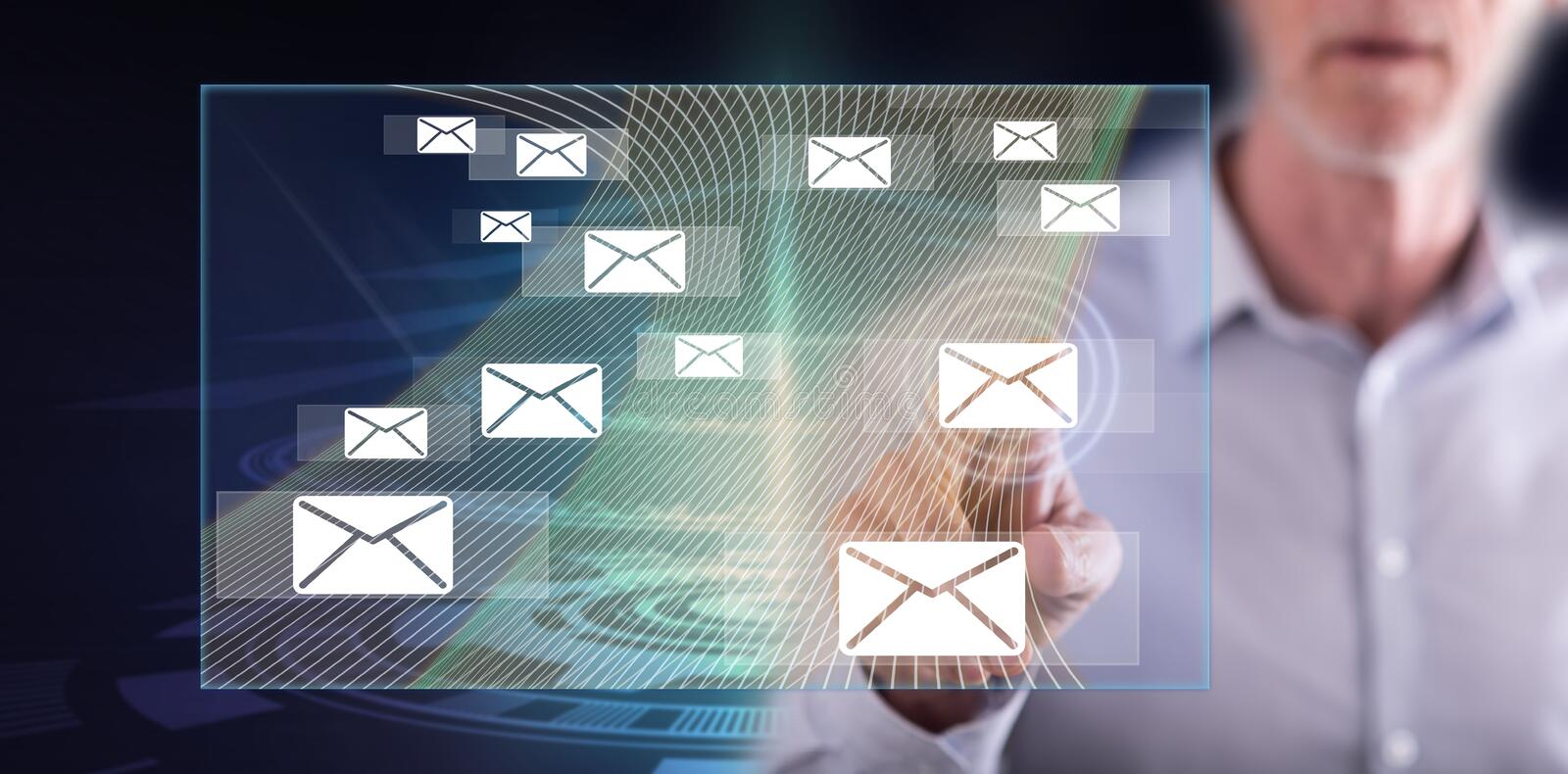 Man touching an email concept royalty free stock image