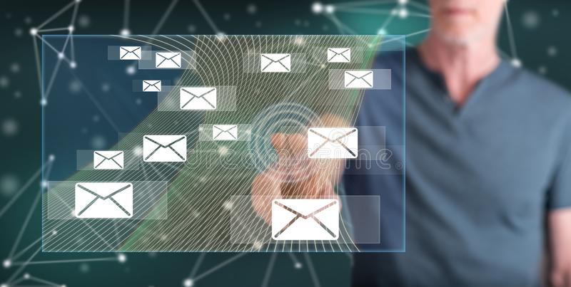 Man touching an email concept royalty free stock images