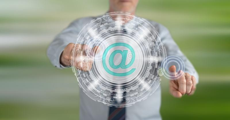 Man touching an email concept royalty free stock photo