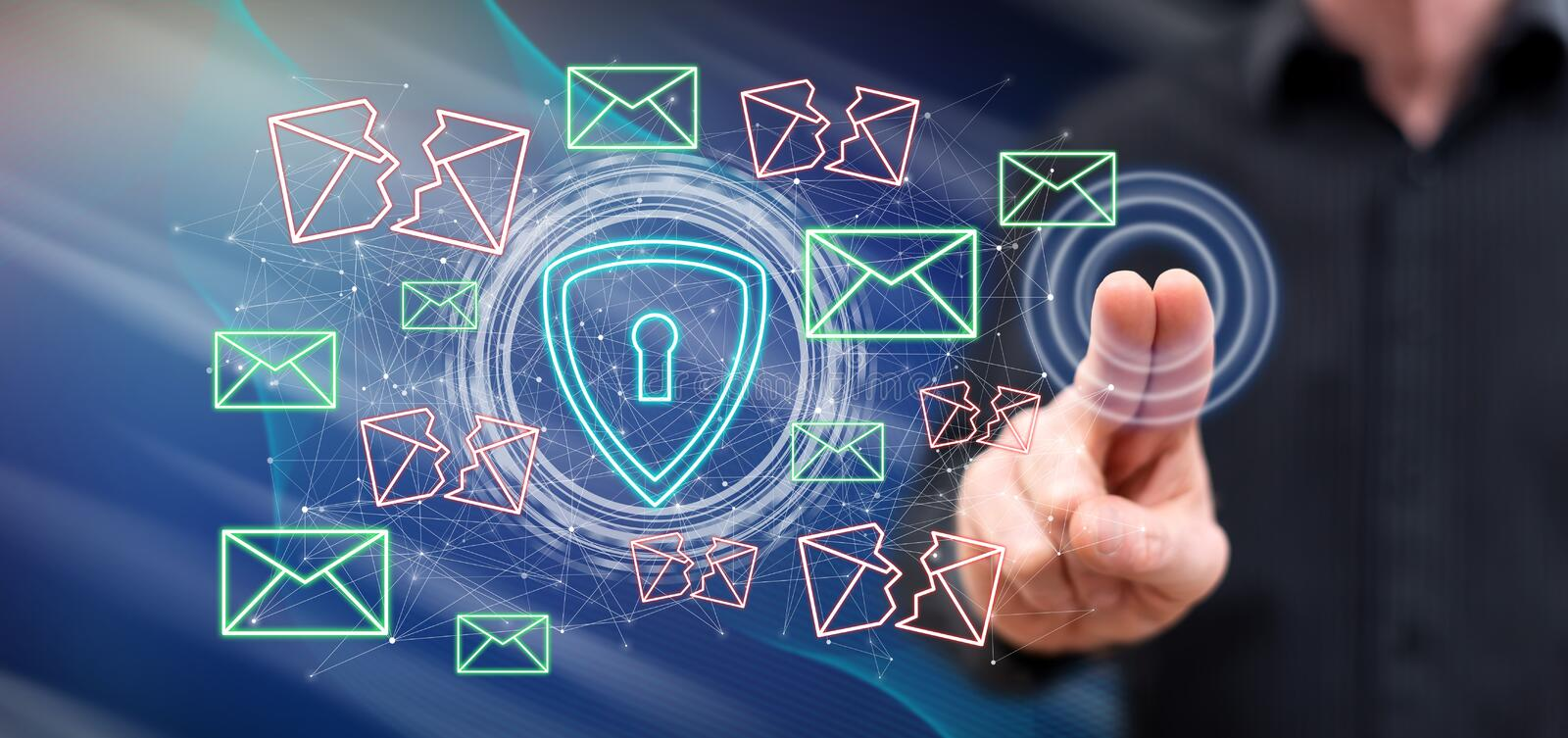 Man touching an email protection concept stock photos