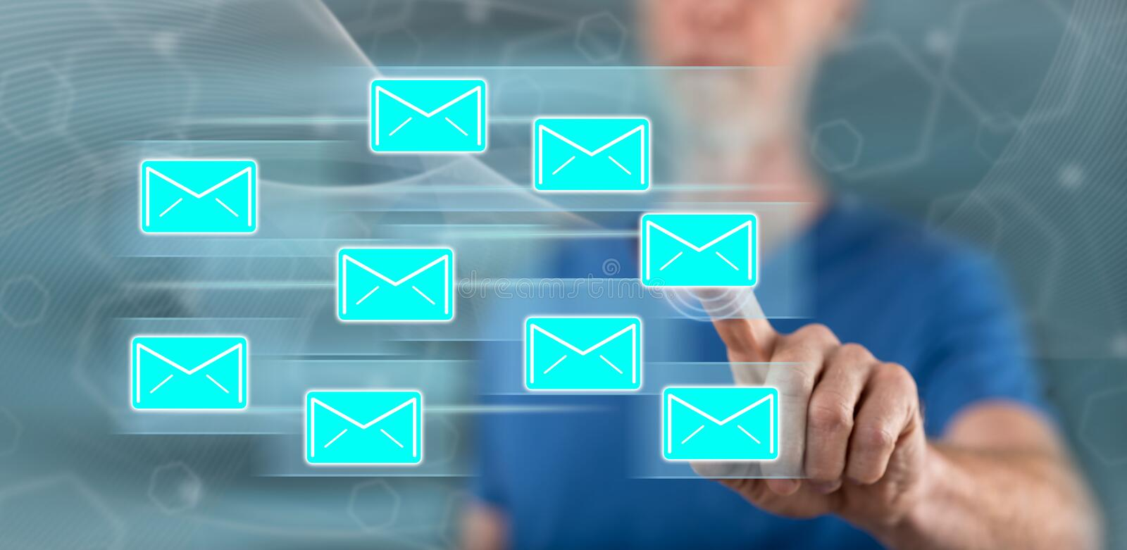 Man touching an email sending concept stock images