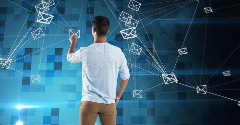 Man touching email web connections royalty free stock photo