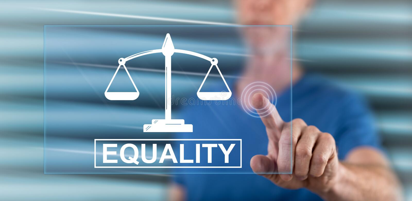 Man touching an equality concept stock image