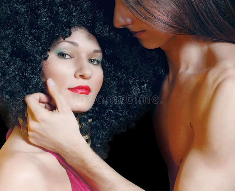 Download Man Touching The Face Of Woman Stock Image - Image of hair, contrasts: 24524455