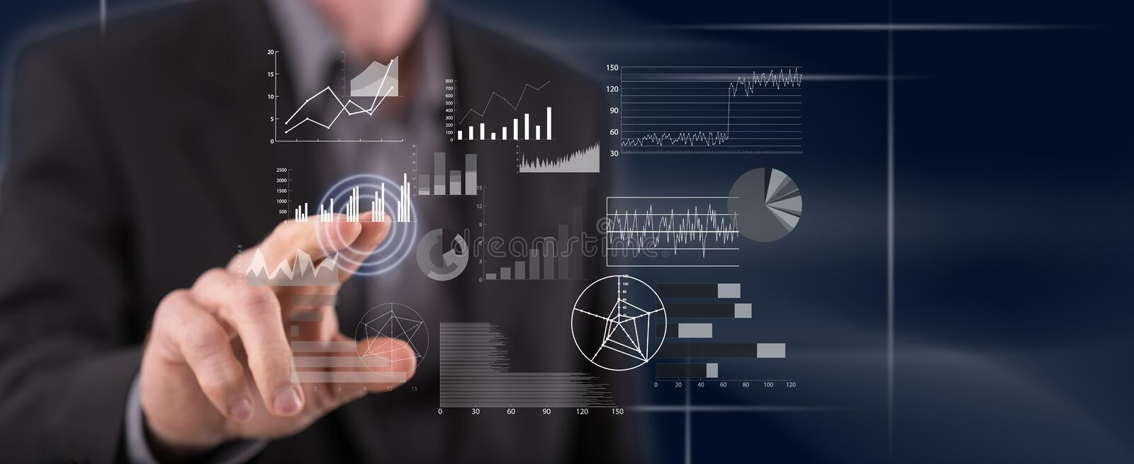 Man touching a financial analysis concept stock photography