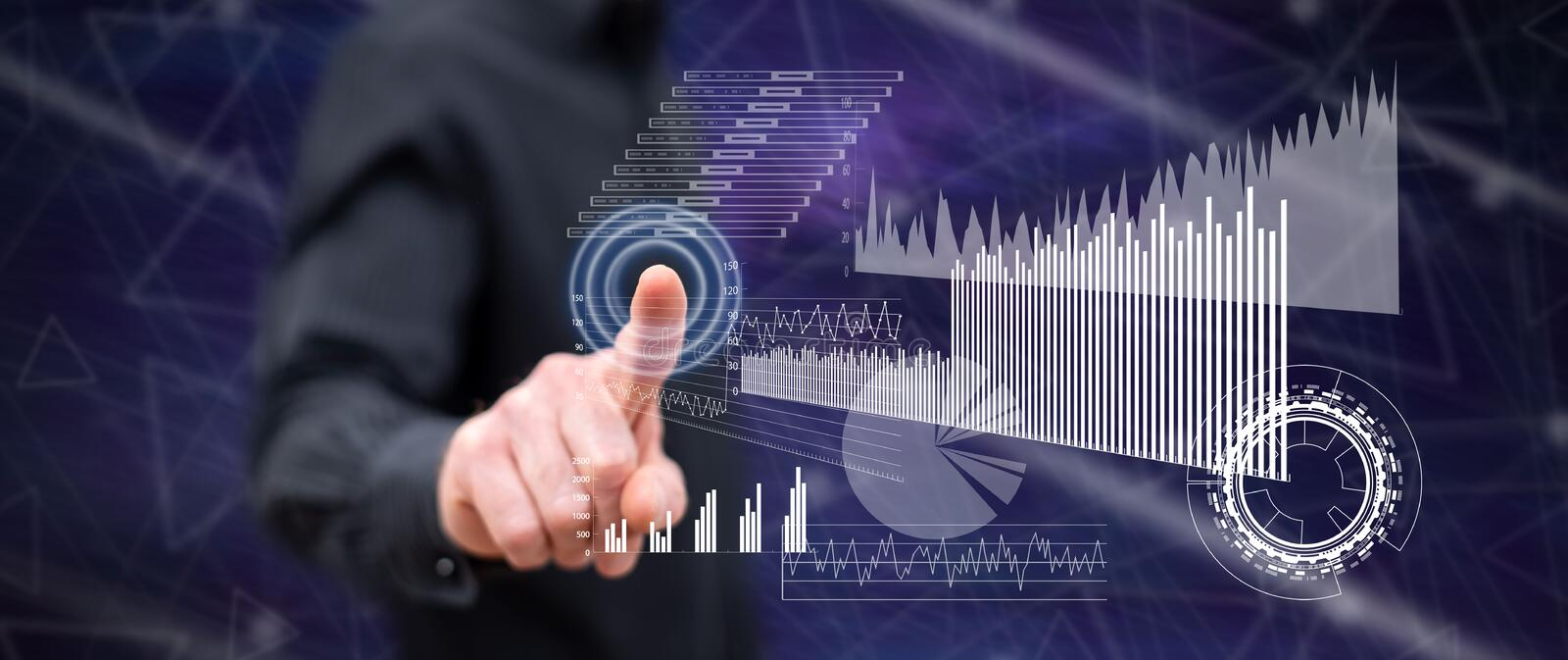 Man touching a financial analysis concept royalty free stock images