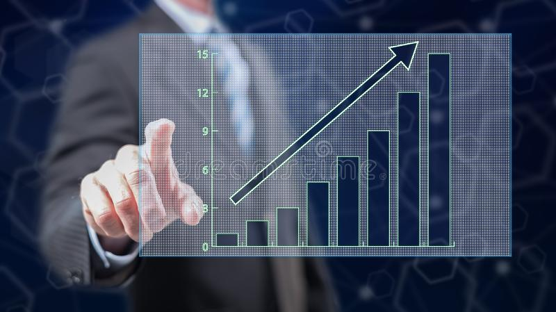 Man touching a financial growth concept. On a touch screen with his fingers royalty free stock photos