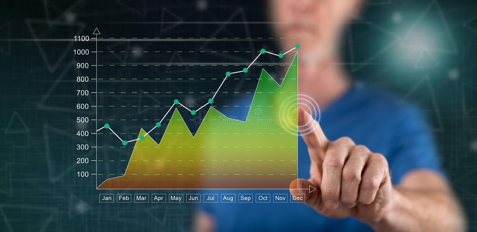 Man touching a financial results concept stock photos