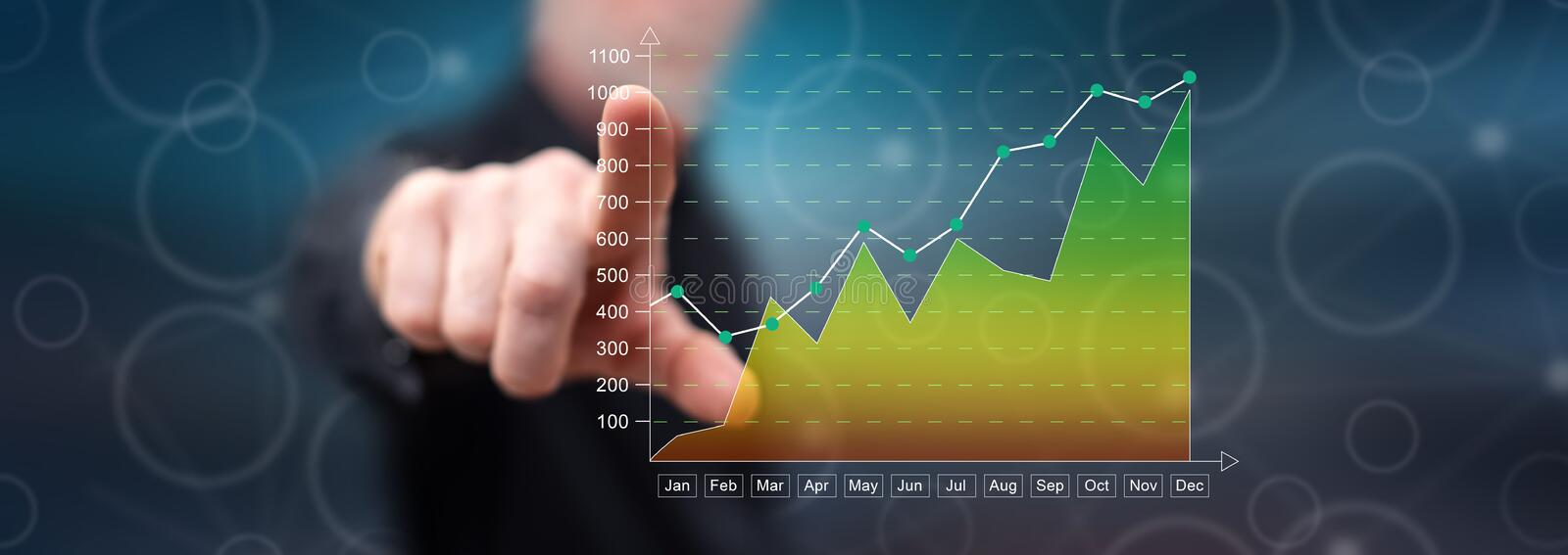 Man touching a financial results concept royalty free stock photos