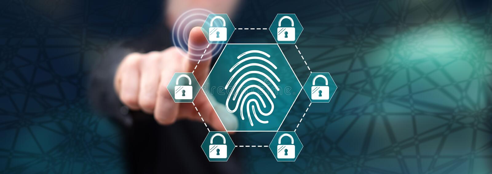 Man touching a fingerprint security system concept royalty free stock images