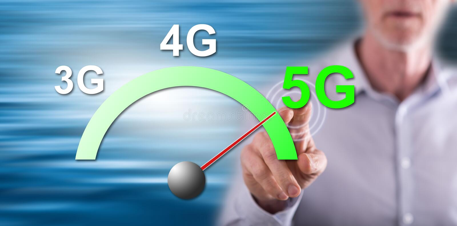 Man touching a 5g concept stock photo