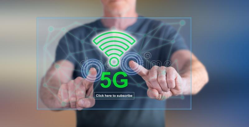 Man touching a 5g concept stock image