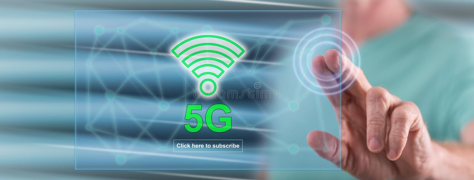 Man touching a 5g concept royalty free stock photography